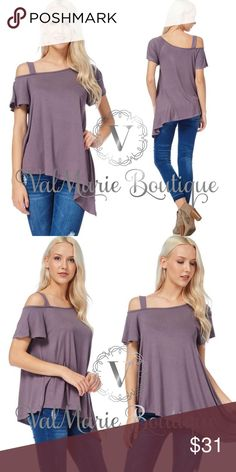 """Purple one cold shoulder top MADE IN USA- very soft purple one cold shoulder top. 96% rayon, 4% spandex. Sizes: S(2-4) 25"""" long, M(6-8) 26"""" long, L(10-12) 27"""" long. Fits casual and stretchy. ValMarie Boutique Tops"""