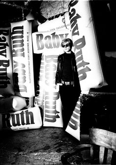 Billy Name, Andy Warhol with giant inflatable Baby Ruth bars, 1966