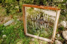 Beautiful framed glass wedding welcome sign with wedding date.