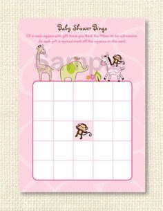 Safari Girl Jungle Animal Printable Baby by LittlePrintsParties, $4.00
