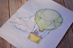 Curious Cat and the Hot Air Balloon.  Original Ink and Watercolor Drawing.