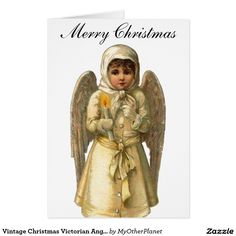Vintage Christmas Victorian Angel Card