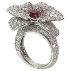 CARTIER Caresse D'Orchidees White & Pink Diamond Ruby Ring GIA | From a unique collection of vintage cocktail rings at http://www.1stdibs.com/jewelry/rings/cocktail-rings/