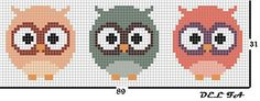 Cross Stitch Owl, Cross Stitch Animals, Cross Stitch Charts, Cross Stitch Designs, Cross Stitch Embroidery, Embroidery Patterns, Cross Stitch Patterns, Christmas Tree Ornaments To Make, Crochet Square Patterns