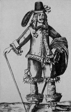 Nicole Kipar's 17th Century Clothing History Engraving Gallery:  Fashionable Gentleman. Note the abundance of ribbons on this costume, which shows the exaggerated version of the 1640s fashion, 1645. French