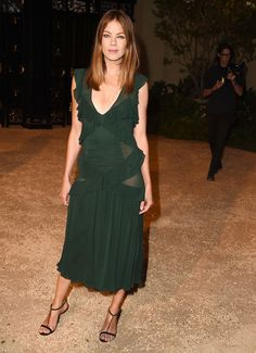 Michelle Monaghan in a dark green  Burberry Prorsum dress at the Burberry 'London In Los Angeles' Event
