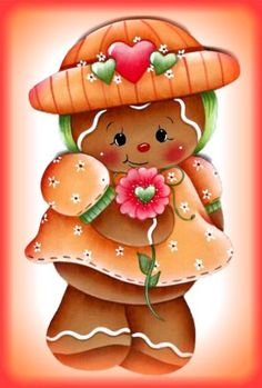 LAMINATED FRIDGE MAGNET Gingerbread Girl with Flower