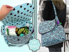 """Plenty of room, lots of pockets, PUL lining, adjustable strap... this free diaper bag sewing pattern and tutorial offers it all. Plus, most importantly for a bag that's your constant companion for months:it's GREAT looking!In fact, it might be hard to give up this pretty bag once your baby has become a more independenttraveler. The bag finishes at approximately 14"""" x 14"""" x 6"""". Get the Pattern & Tutorial"""