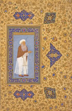 """Miniature pasted on an album leaf. """"Portrait of a Holy Man"""" India, Mughal; 1620-1630 Leaf: 36.5 × 23.7 cm"""