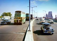 Cars and buses travelling south across the Sydney Harbour Bridge. Photo shared by Max Dupain. Sydney City, Sydney Harbour Bridge, Holden Australia, Australian Cars, Blue Mountain, Great Pictures, Historical Photos, Continents, Time Travel