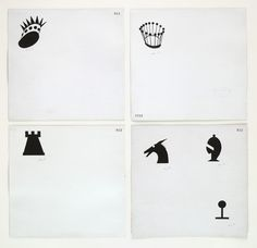 "Marcel Duchamp (American, born France. 1887–1968), Designs for Chessmen, (c. 1920), Ink, pencil, and relief printing on paper, 8 5/8 x 9"" each"