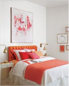 use colorful art above your bed for a dramatic effect in your room. More ideas for decorating above the bed on A Blissful Nest. http://ablissfulnest.com/