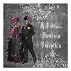 Shabby Chic Wedding Reception Halloween Bride & Groom Wedding Reception Only Card