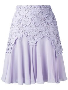 Shop Giambattista Valli lace trim pleated skirt .