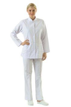NU-02 NURSE UNIFORM • Top & Pant • Alpaca fabric, %65/35 poly/viscose • Up  collar • One chest and two patch pockets • Short or long sleeve options • With press stud or button • Wrinkle resistant • No yellowing • Color: White • Optional pastel colors • Sizes(US): XS – S -M - L - XL -2XL -3XL • Sizes(EU): 36 -38 -40 -42 -44 -46 -48