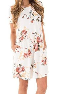 Shop the latest collection of CQGG Women Round Neck Short Sleeve Pocket Floral Print Dress Sexy Summer Floral Printed Swing Dresses from the most popular stores - all in one place. Similar products are available. Dresses Short, Sexy Dresses, Casual Dresses, Summer Dresses, Dress Outfits, Summer Outfits, Robe Swing, Swing Dress, Mini Robes
