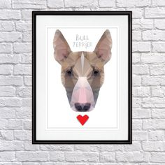 Geo Cubistic Bull Terrier Dog, Digital Poster Print, Wall Decor by PSIAKREW on Etsy