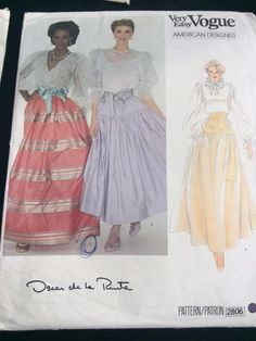 Vogue Vtg Sewing Pattern Very Easy Oscar de la Renta 2806 Sz 12 Cut Full Skirt