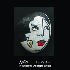 Sea pebble designed and painted by Laia.  Intuition Design Shop, Athens