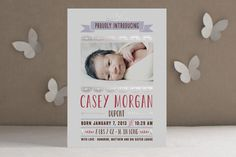 Scalloped Banner Foil-Pressed Birth Announcements... | Minted