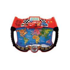 Your child can touch and explore the world with the Lightning McQueen Atlas from VTech ! This colorful, interactive world map features all of the continents, major capitol cities, and landmarks in addition to your child's favorite characters from Cars 2. The toy's six learning games use 35 touch-sensitive points to teach about geography, foreign language, landmarks, and more. Plus, Lightning McQueen