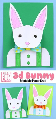 Make a distinguished paper bunny with a 3D pop out head and a snazzy paper bow tie using our printable template. This is a fun paper craft for Easter or Spring, perfect for grade school kids and looks fantastic as an Easter bulletin board display  | Easter Crafts for Kids #easter #kidscrafts #kidsactivities #3Dpapercrafts #3dportrait #easterbunny #bunny #bunnycrafts #superfunprintables #printablecrafts #thecrafttrain
