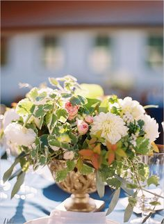 pink white and green floral centerpieces