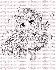 Digital Stamp  Fairy Lily  Digi Stamp Coloring page by artbymiran - $3.00