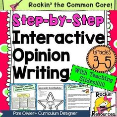 Opinion Writing for Grades 3-5
