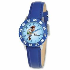 Disney Woody Boys' Stainless Steel Time Teacher Watch, Blue Bezel, Blue Leather Strap, Size: One Size. Cool Watches, Children's Watches, Wrist Watches, Jewelry Watches, Aleta, Mickey Mouse And Friends, Tear, Telling Time, Stories For Kids