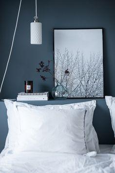 ikea malm bed painted grey Coco Lapine prints in Suvi's home - via Coco Lapine Design