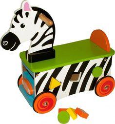 Zebra Pchacz Edukacyjny Jezdzik Aktywności Drewno