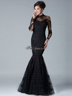 Cheap prom gown, Buy Quality evening dress directly from China dress high neck Suppliers: Vestido De Festa 2016 Gorgeous Black Appliqued Lace Trumpet Evening Dresses High Neck Long Sleeve Floor-length Tulle Prom Gowns Mermaid Prom Dresses Lace, Prom Dresses 2016, Prom Dresses With Sleeves, Prom Party Dresses, Lace Mermaid, Dress Prom, Dress Lace, Prom Gowns, Sleeve Dresses