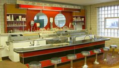 Convert a shipping container to your ice cream shop offer many advantages. Ice Cream Factory, Container Cafe, Retro Diner, Ice Cream Parlor, Soda Fountain, Chocolate Factory, Candy Store, Parlour, School Design
