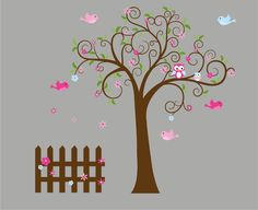 kids rooms painted tree | NEW LOOK Kids swirl tree vinyl wall decal with birds flowers and fence ...