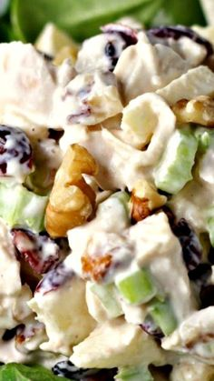 Waldorf Style Chicken Salad ~ Chicken breast meat combined with low fat mayo, crisp celery, sweet apple, crunchy walnuts and chewy dried cranberries... This is great on a bed of baby lettuces or even in a sandwich or wrap.