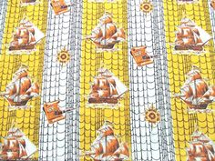 1 Yard Cotton Fabric 1950s Nautical Ships by TextilesandThings, $14.00