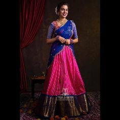 Want to shop super pretty and affordable half sarees of Do check out this brands collection. Half Saree Lehenga, Lehenga Saree Design, Lehnga Dress, Sari, Lehenga Designs, Saree Blouse Designs, Indian Lehenga, Blue Lehenga, Kids Lehenga