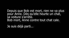 #depuis que bob est #mort rien ne va #plus pour Anne , dès qu'elle heurte un #chat sa #voiture s'arrête , bob mort anne #contre tout chat cale , je suis déjà #parti ! #humour #blague #rire #drole #rigoler #blagues #mdr #lol