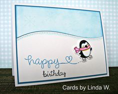 Card I made for my niece using some fun Lawn Fawn items I picked up at Hallmark Scrapbooking's website.  The light blue panel was made by lightly inking Neenah white cs using a foam pad and Salty Ocean Distress ink.  I stamped the snowflakes using Hero Arts Unicorn White ink and it made a subtle background - they don't look white at all irl either.  Lawn Fawn: Winter Penguin (and matching die) Peace Love Joy (the large snowflake) Happy Everything (word birthday) Stitched Hillside Borders…