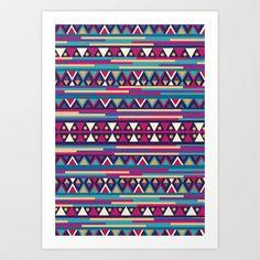 AZTEC PATTERN Art Print by Nika  - $23.00