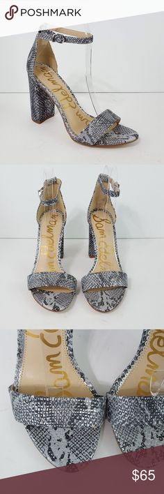 d3e329d7c62  Sam Edelman  Yaro Silver Snake Print Heel Sandals Excellent pre-owned  condition