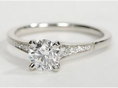 Petite Milgrain Diamond Engagement Ring in Platinum (.10 ct. tw.) dear future husband, this is the one i want!:) Love, your future wife