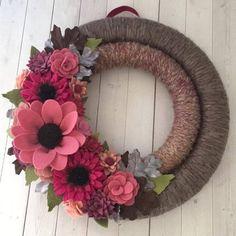 Felt flower wreath felt flowers felt fall wreath fall