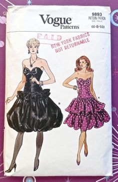 Vintage 1980s Womens Strapless Dress Pattern with Dropped Waist and Two Full Skirts  -Vogue 9893 by Fragolina on Etsy https://www.etsy.com/listing/184329010/vintage-1980s-womens-strapless-dress