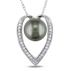 Miadora 14k Gold Tahitian Pearl and 1/6ct TDW Diamond Necklace (H-I, I2-I3) (9-9.5 mm) | Overstock.com Shopping - The Best Deals on Pearl Necklaces