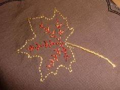 Embroidered leaf napkin #embroidery