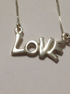 "Italian Sterling Love Necklace 16"" Pendant 925 Silver Italy Choker Chain Vintage Jewelry Slide Gift Birthday Anniversary Holiday on Etsy, $45.00"