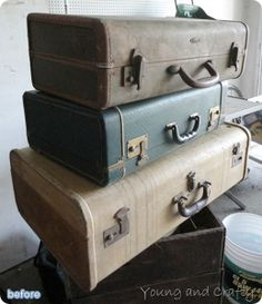 Vintage door and suitcase repurosed into coffee table and shelves on betterafter.net