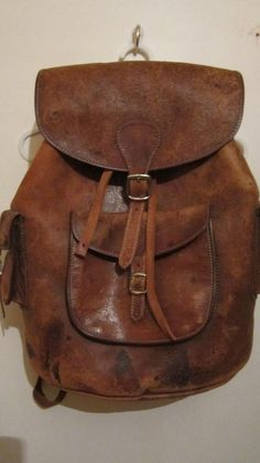 e6c1a9ab4f RESERVED Distressed chocolate leather vintage backpack rucksack. Leather  LuggageLeather BagsBrown ...